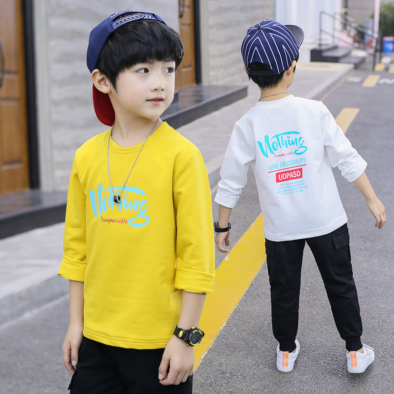 Fashion Boys T-shirts New Long Sleeve Cotton Boys Tops Casual Baby Kids Clothes Boys Sport Outfits Vestidos for 6 8 10 12 Years(China)
