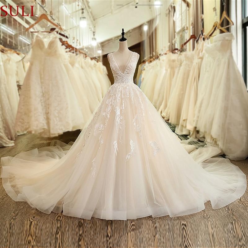 SL-6040 Church Plus Size Deep V-Neck Pleats Wedding Dress 2019 Backless Long Train Crystal Lace Wedding Gown(China)