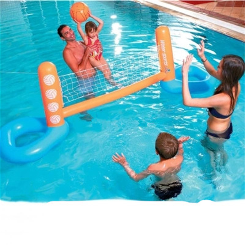 цена на Inflatable Adult Children Volleyball Rack Swimming Pool Entertainment Volleyball Game PVC Thicken Water Sports Goods G1515
