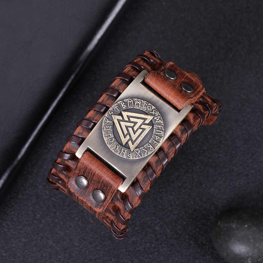 Skyrim Viking Valknut 24 скандинавские руны широкий кожаный браслет амулет Регулируемый винтажный славянский норвежский мужской ювелирный браслет