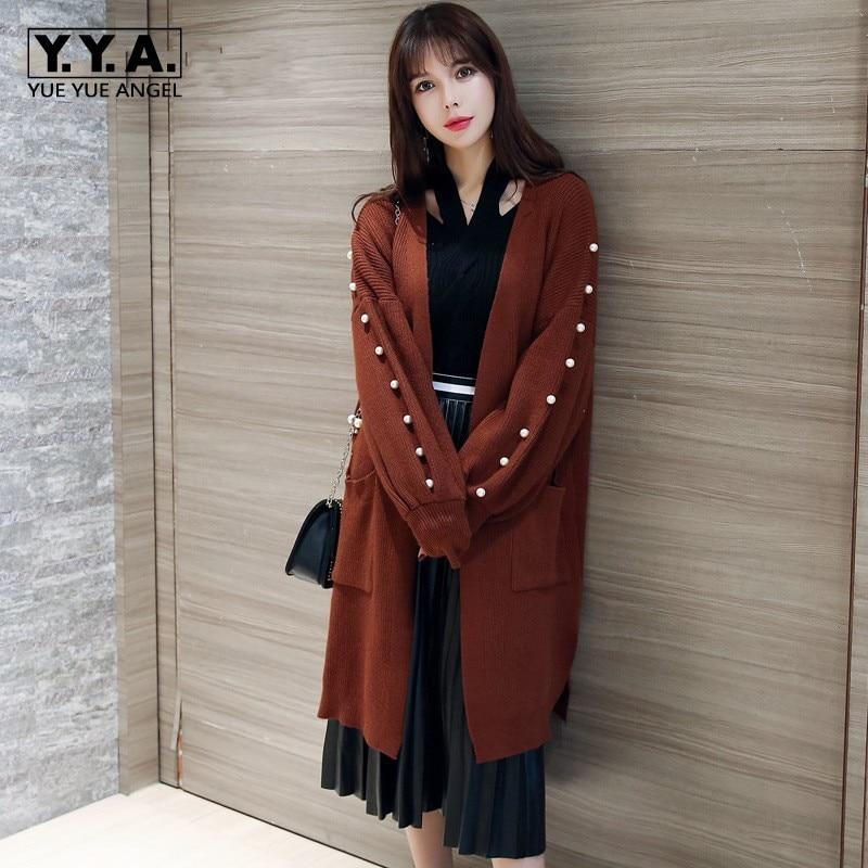 2018 New Elegant Lady Pearl Design Sweater Cardigans Oversize Open Stitch Large Size Loose Lantern Sleeve Female Knitted Coats