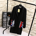 Casual Cartoon Pattern Women Trench Coat Plus Size 3XL Loose Turn-down Collar Long Trench Black Outerwear KK1919