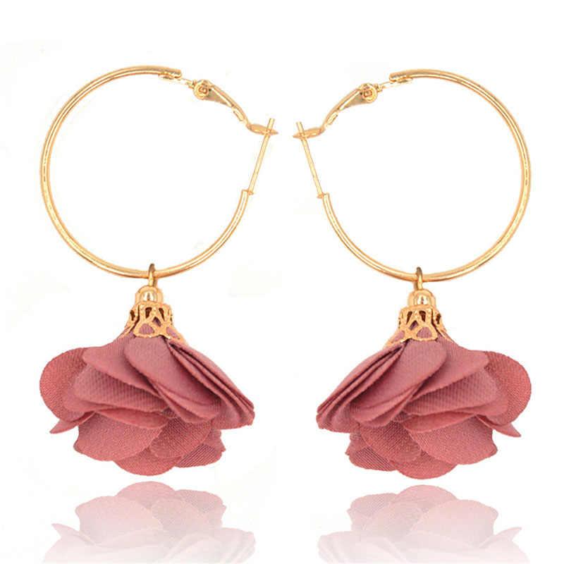 Fou Feng luxe femmes couleur or tissu fleur boucle boucles d'oreilles pour Faker fleur charme cerceau boucles d'oreilles Brincos accessoires de fête