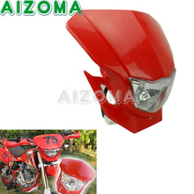 Motocross Dirtbike Universals Headlight Blubs Fariring Red Motorcycle Headlamp Assembly For 2011-2016 Honda CRF 450R 250R 80F