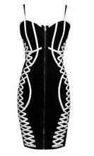 Shine Beauty 2017 New Pink Black Strap Sexy Women Elegant Top Quality Bodycon Vestidos Bandage Dress