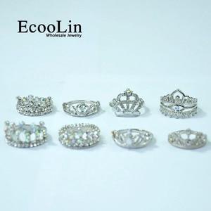 Image 4 - Anillo de circonia brillante para mujer, 50 Uds., corona real, joyería de compromiso para mujer, lote de paquetes LR4024