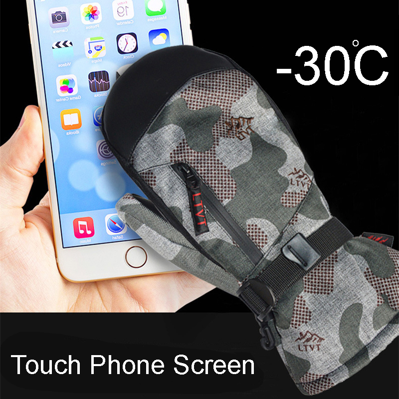 High Quality -30 Winter Warm Professional Snowboard Ski Gloves Waterproof Touch Phone Screen Thermal Mittens Skiing Snowmobile 2