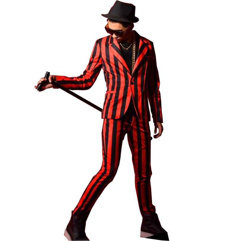 Sur mesure Hommes Rouge Noir Rayé Costumes Ensembles Mâle Mode Casual Slim Fit Blazer + Pantalon Chanteur Danseur Stade hip-hop Vêtements