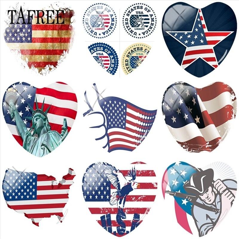 TAFREE USA Flag National Emblem 25mm DIY Heart Shape Glass Cabohcon Key Chian Charms Pendant Cameo Settings Jewelry Findings emblem