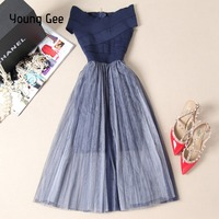 Young Gee Women Slash Party Dresses Elegant Summer Off Shoulder Bandage Stretch Mesh Ball Gown Knee Length Sexy Club Dress robe