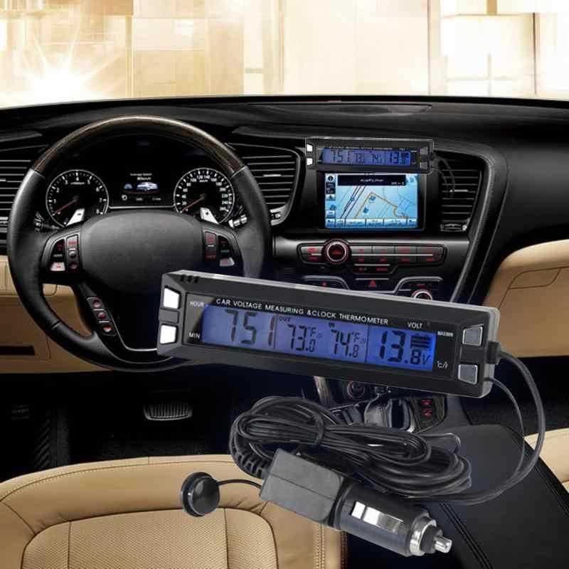 Новый автомобиль ЖК-дисплей цифровой термометр Авто вольтметр часы вольт Температура монитор Крытый ЖК-дисплей синий Подсветка сигнализации челнока