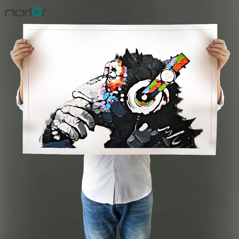 Modern Wall Picture Canvas Painting Chimpanzee With Headphones Print Decoration Animal Art for Living Room no Frame