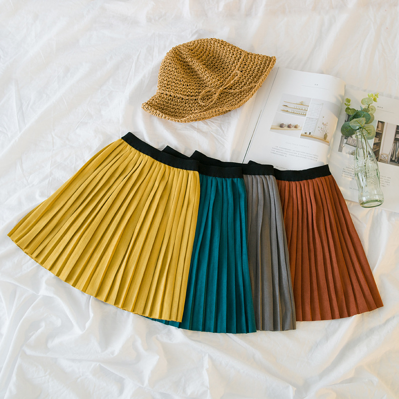Hot sale New Fashion 2018 autumn Cute Velvet Child Skirt Kids Pleated Skirt Smooth Skirt Toddlers Children Baby Girls Skirts dabuwawa autumn women fashion sexy plaid skirt elegant mini pleated skirt short streetwear asymmetrical skirt d17csk031 page 1