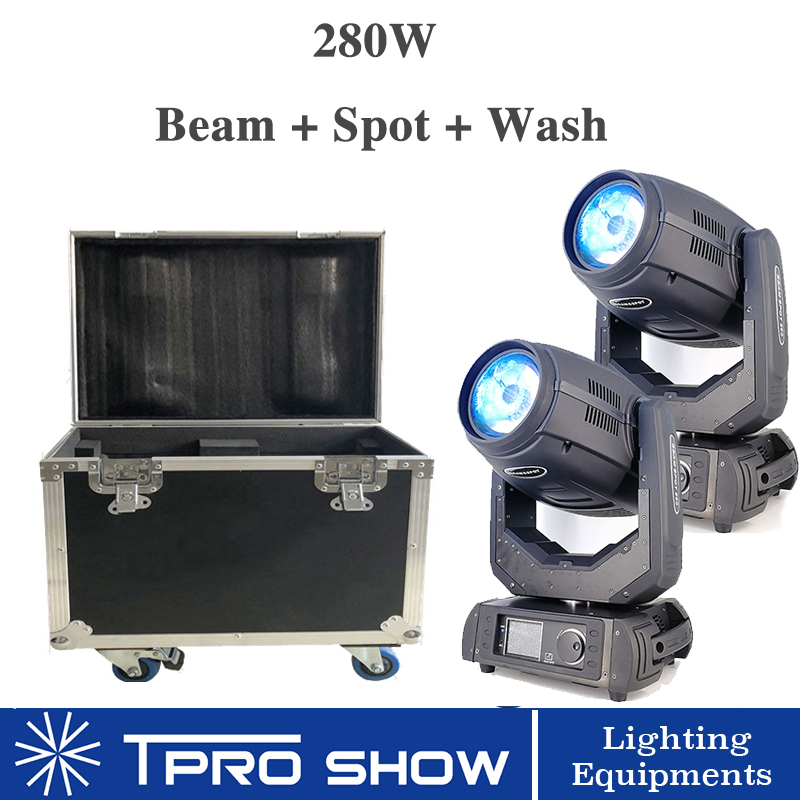 2pcs Beam 10R 280W Beam Moving Head Wash Spot 3in1 Lyre Stage Lights 2in1 Flight Case
