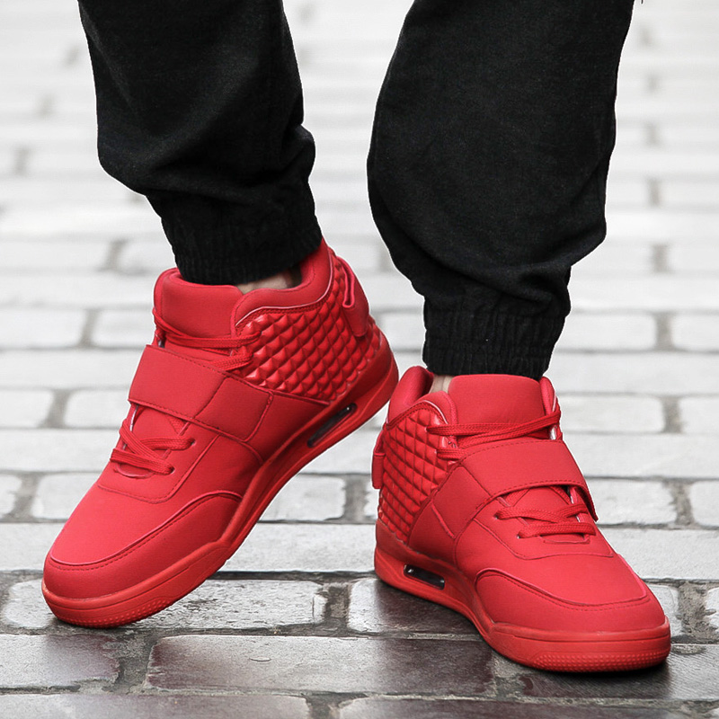 0c0ef72635f6 Big Size 39 46 Running Men Shoes High Top Air Sport Jogging Red Bottom  Sneakers Breathable British Style Zapatillas Femme Boots-in Running Shoes  from Sports ...