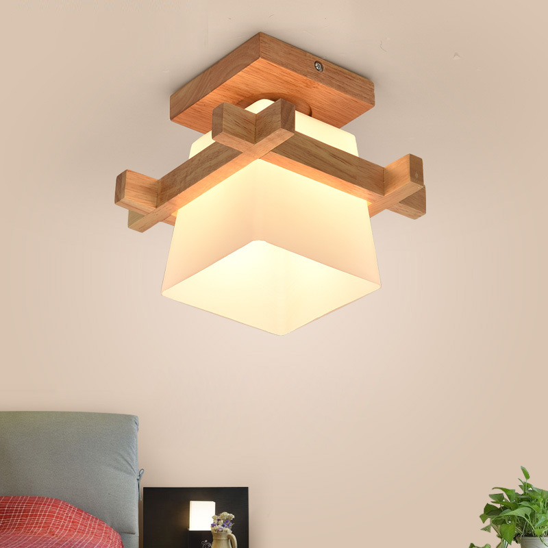 Image 4 - Artpad Tatami Japanese Ceiling Light for Home Lighting Glass Lampshade E27 LED Ceiling Lamp Wood Base Hallways Porch Fixtures-in Ceiling Lights from Lights & Lighting