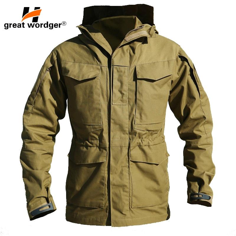 Открытый M65 Водонепроницаемый военный летчик куртки Для мужчин ветровка камуфляж тактический Полевая куртка мужская с капюшоном и кармана...