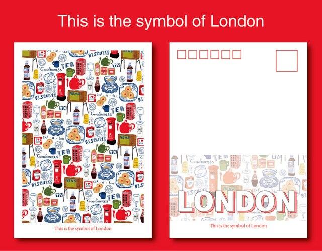 Carte Anniversaire Londres.6 29 1 Pc Londres Symboles Enregistrables Classique Vintage Art Voyage Carte Postale Carte De Voeux D Anniversaire Cadeau Cartes Postales