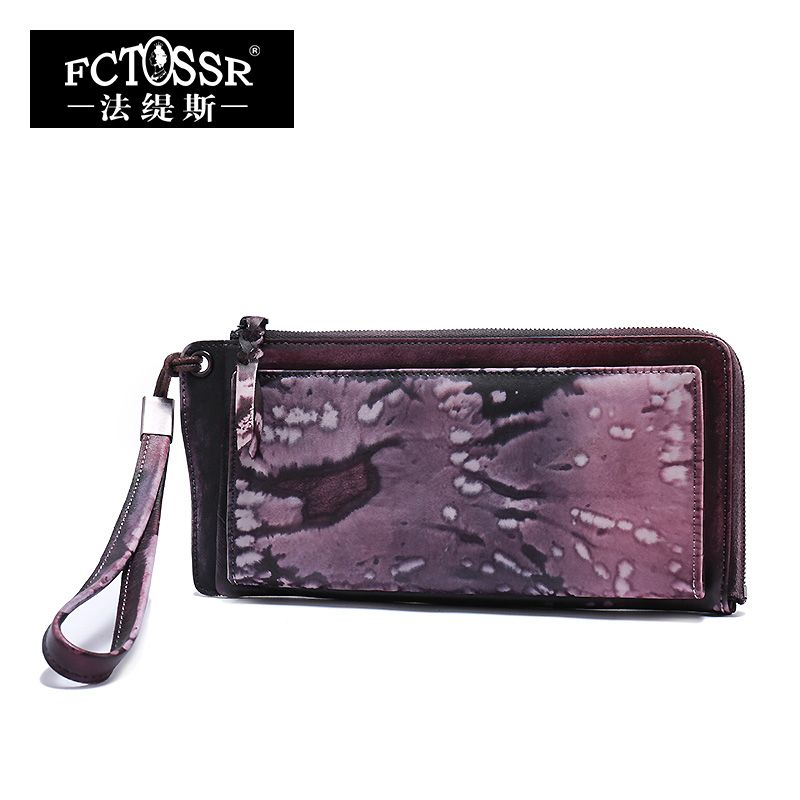 Women Bags 2017 Vintage Genuine Leather Day Clutches Handmade Cow Leather Women Wallet Purple/Green
