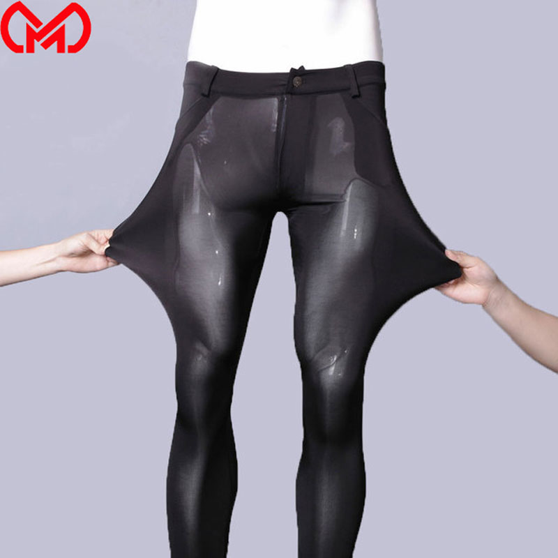 Men Sheer Pencil Pants Ice Silk Shiny See Through Sexy Tight Trousers Fashion Pencil Pants Erotic Lingerie Gay Wear Plus Size F1