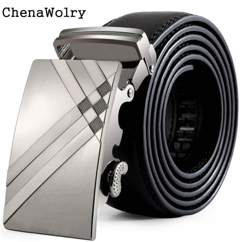 ChenaWolry 1PC Fashion Accessory Luxury Men Leather Automatic Buckle Belts Fashion Waist Strap Belt Waistband Oct