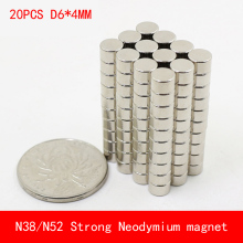 20pcs/lot Super Strong Rare Earth mini 6mm x 4mm Permanet Magnet Round Neodymium N52 N38 6*4MM surface plate nickel