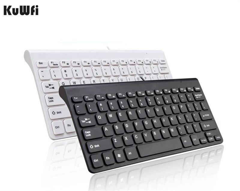 Kuwfi USB Keyboard Laptop Multimedia Macbook Quiet Small-Size Mini Ultra-Thin 78-Keys