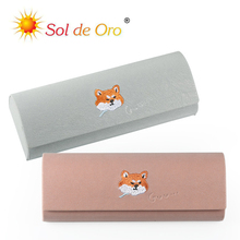 SOL DE ORO Embroidered Shiba Inu Glasses Box Female Simple Myopia Case Boys Creative Eye Cute Personality Portable