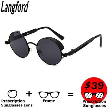 Langford recept zonnebril Afgewerkt vintage Rx. zonnebril ronde kleine zonnebril mannen gepolariseerde spiegel bijziendheid zonnebril