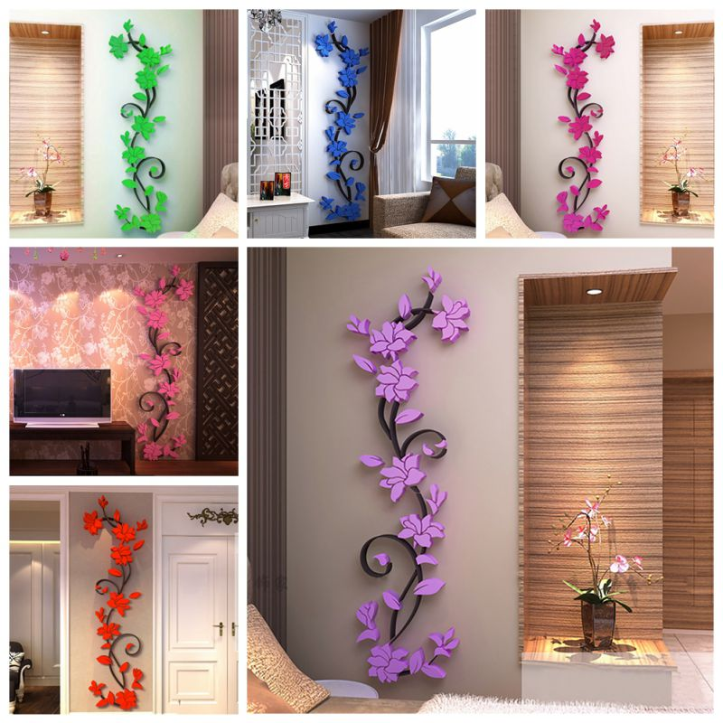 3d vase flower tree diy removable art vinyl wall stickers decal mural home decor for home. Black Bedroom Furniture Sets. Home Design Ideas