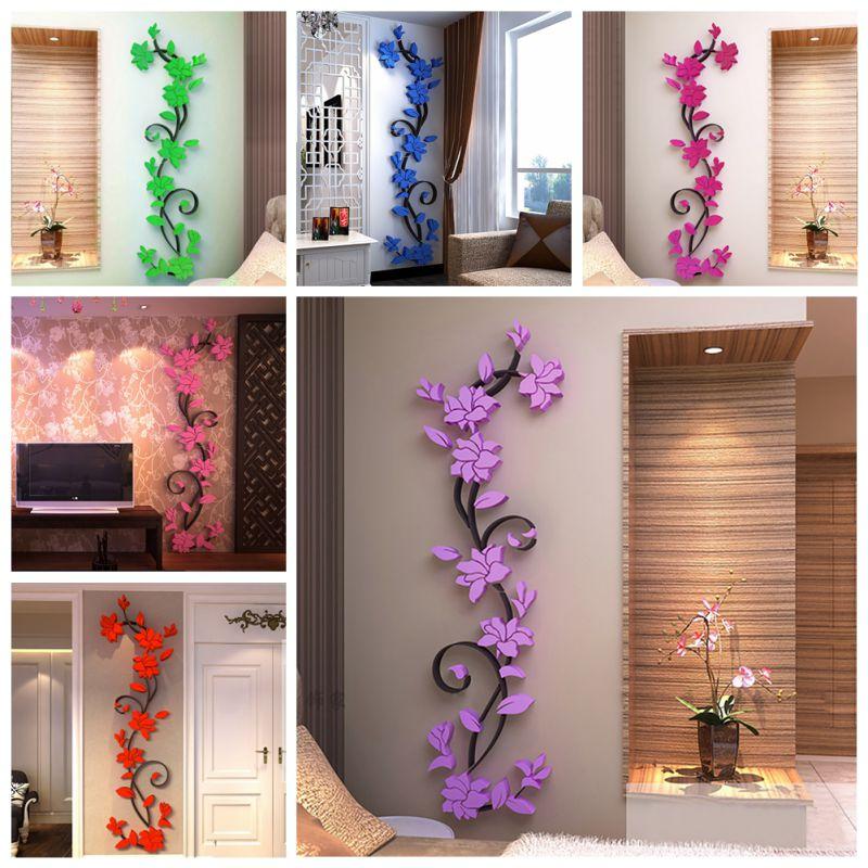 3D Vase Flower Tree Removable Art Vinyl Wall Stickers