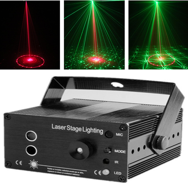 цена на Red Green Laser Light Music Projector Dj Disco Ball Strobe Lights 18 Pattern Color Change for Laser Disco Music Center Equipment