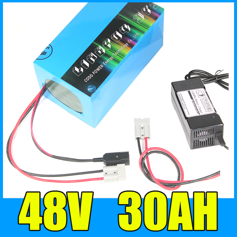 Taxe gratuite 1800 W 48 V 30AH batterie de vélo électrique 48 V 30AH batterie e-bike haute puissance batterie au Lithium 48 volts avec chargeur 50A BMS 3A