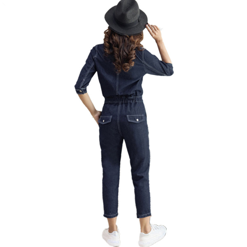 74c1092c670 Zip front women jumpsuit jeans 2018 spring vintage overalls high waist turn-down  collar pockets half sleeve Ankle-Length Pants