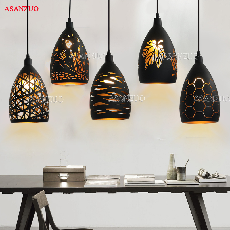 Black Gold Retro Hollow Pendant Light Loft Lamp Carved Maple Leaf Iron Hang Lamp E27 Bar Dining Room Vintage Pendant Lamp