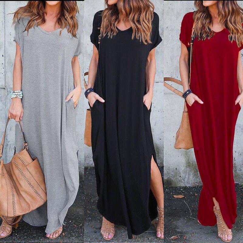 Women T-Shirt Long Maxi Dress Split Evening Party Shirt Dress Summer Beach Loose Sundress