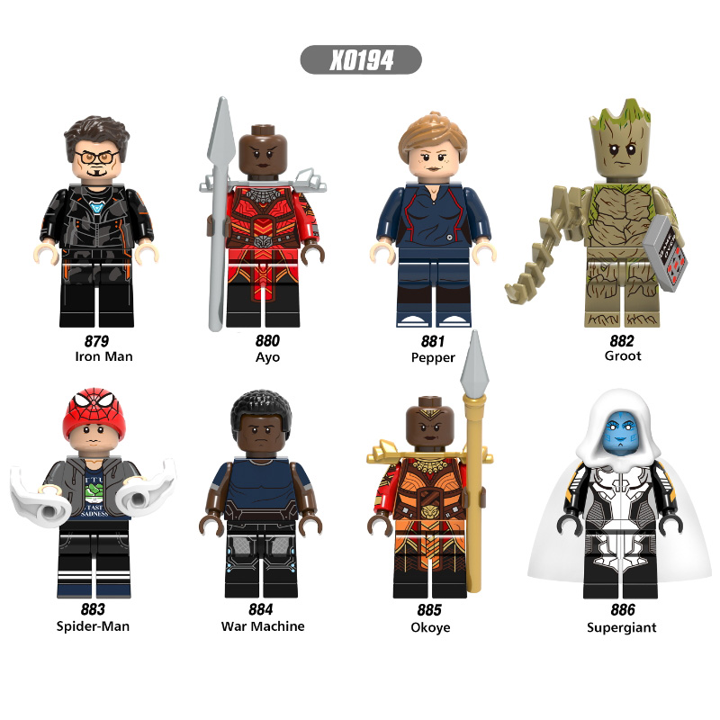 Super Heroes Single Sale Iron Man Figures Pepper Ayo War Machine Okoye Supergiant Dolls Building Blocks Children Gift Toys