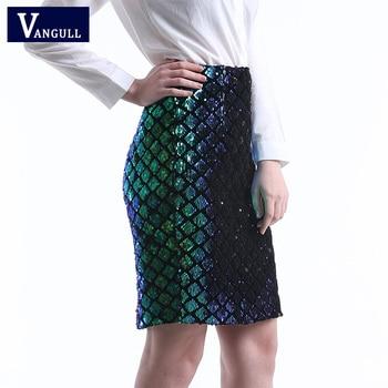 Vangull Iridescent Diamond Sequin Skirt Fish Scale Women Sexy Midi Club Pencil Skirts 2018 Summer Green Casual High Waist Skirt Юбка