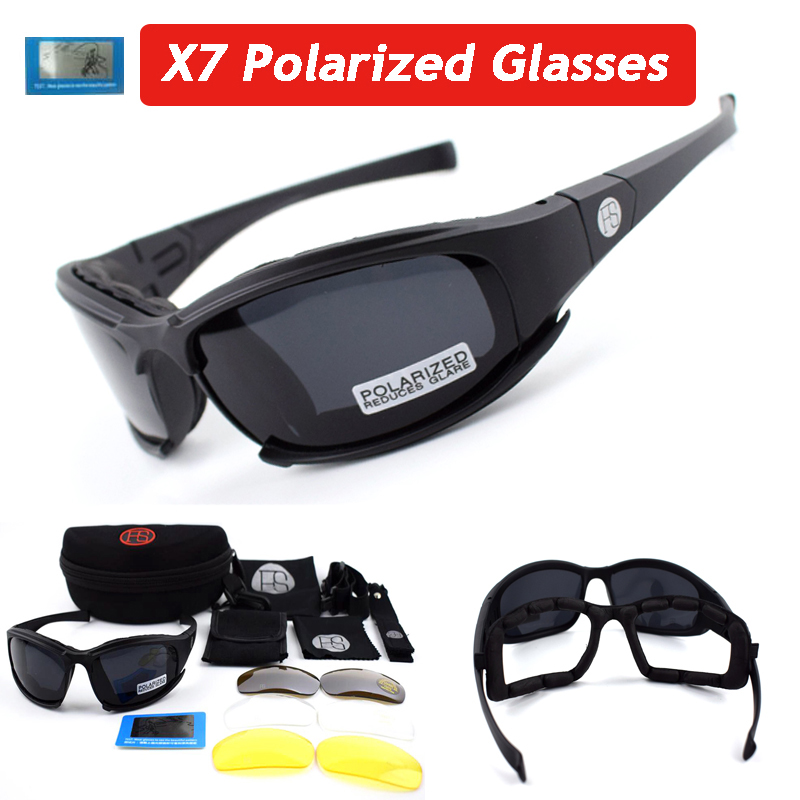 Hot Sale ! Polarized Tactical Glasses X7 C5 Army Goggles Military Sunglasses Hunting Shooting Goggles 4 Lens Cycling Eyewear