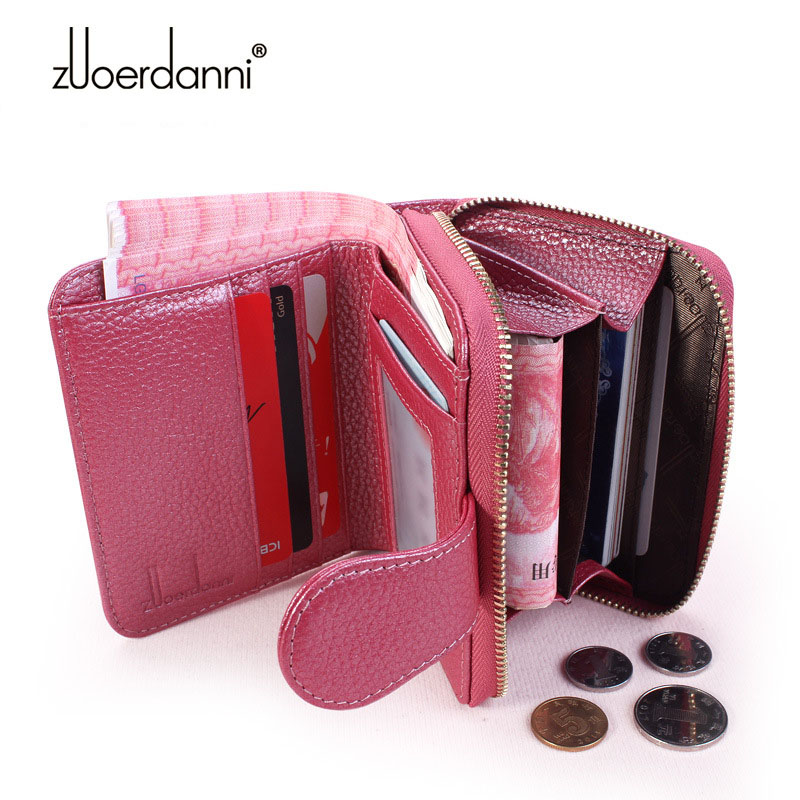 New Designed Fashion Women Genuine Leather Wallet Short Quailty Leather Female Zipper Coin Purses ID Credit Card Case Holder Bag
