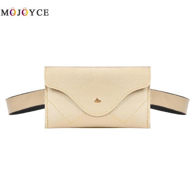Mini Waist Pack Women PU Leather Adjustable Belt Bag Envelope Fanny Pack Sling Shoulder Chest Bags