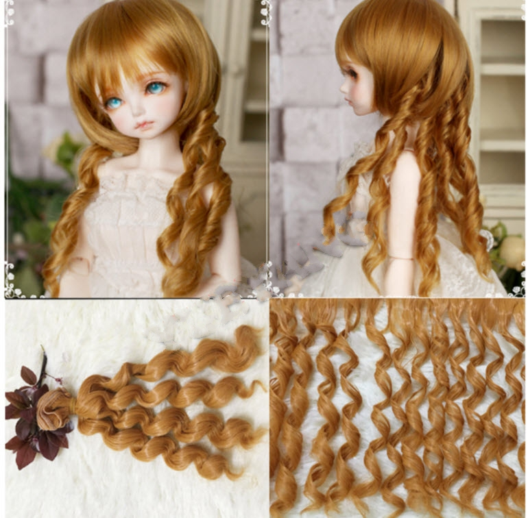 1pc 15*100cm DIY Doll Wig For Barbie Doll For BJD Doll DIY Excessive-temperature Wire Handmade Curly Wigs Doll Hair Curls Row