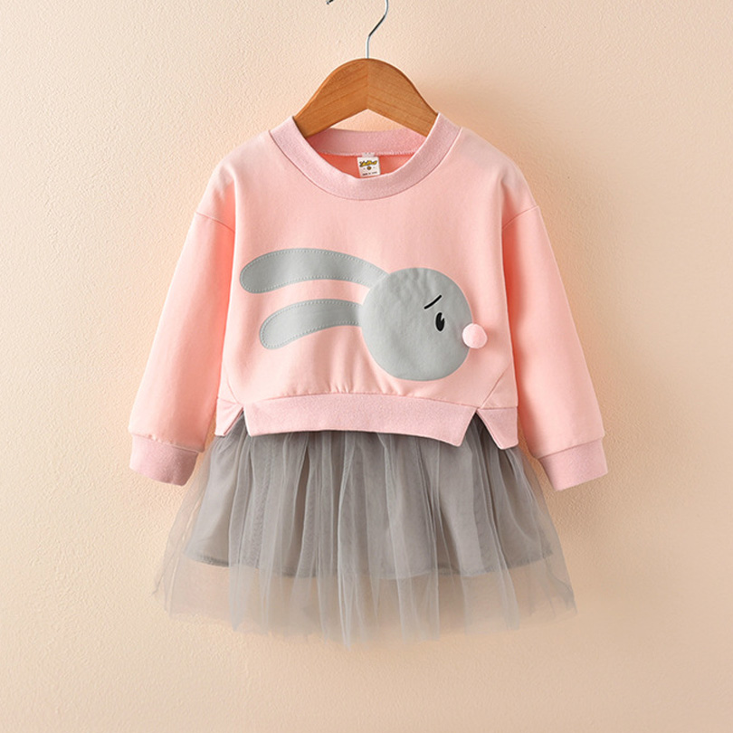 Girls Winter Autumn Spring Baby Girl Princess Dress Cute Rabbit Printed Long Sleeve Dress Toddler Kids Children Clothes 2-7Y baby girls knitted sweater clothing dress 2017 autumn winter new long sleeve cute cartoon pattern girl dress children clothes