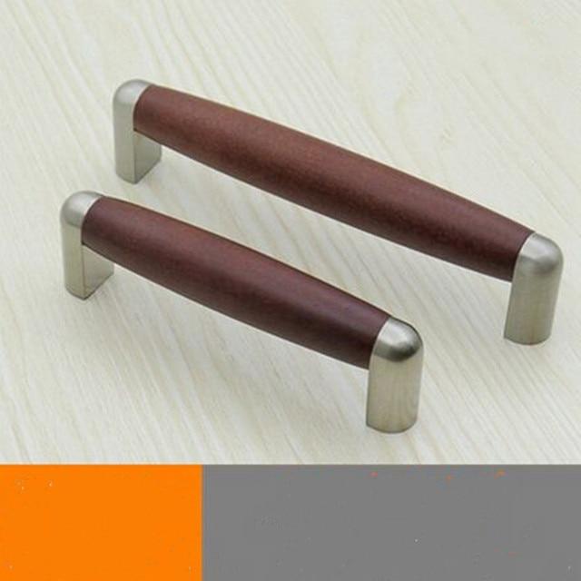 96mm 128mm Moderne Mode Roten Holz Mobel Griffe Fleck Silber
