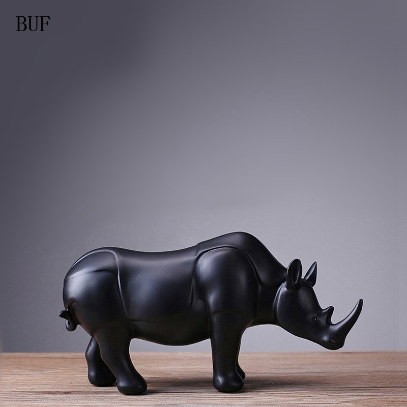 BUF Modern Abstract Black Rhinoceros Statue Resin