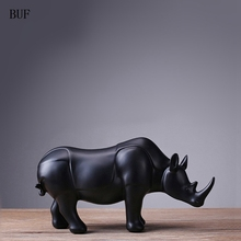BUF Modern Abstract Black Rhinoceros Statue Resin Ornaments Home Decoration Accessories Gift Geometric Resin Sculpture