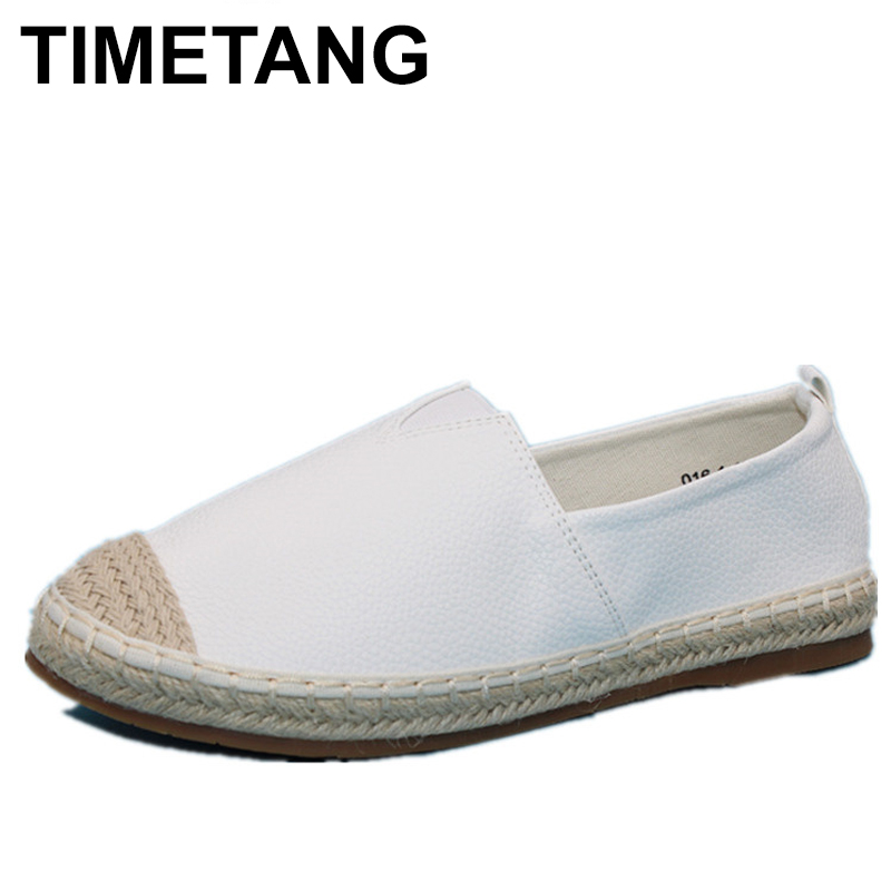 TIMETANG 2018 Loafers shoes Women slip on Flats Solid spring Summer ladies round toe white shoe Plus Size footwear C228 odetina 2017 new women pointed metal toe loafers women ballerina flats black ladies slip on flats plus size spring casual shoes