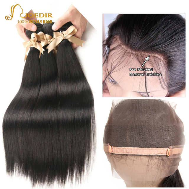 Joedir Outlet Peruvian Straight Hair 2 3 4 Bundles With 360 Lace
