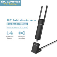 1900Mbps USB WiFi Adapter 5Ghz USB 3.0 802.11ac Dual Band 4*2dbi WiFi Antenna Wi Fi Receiver Support Windows XP for PC