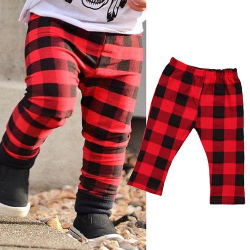Newborn Kids Baby Girl Boys Plaid Pants Leggings Bottoms Checks Clothes
